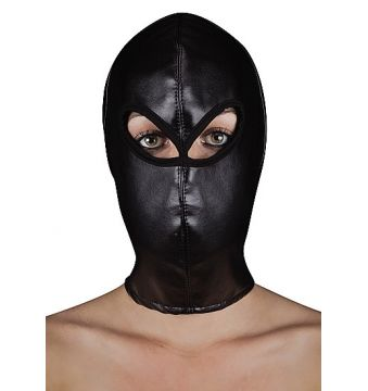 Extreme Leather Hood with Ribbon Ties
